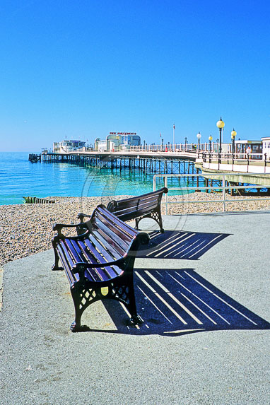 063 Worthing Pier Benches Early Morning Light - Michael